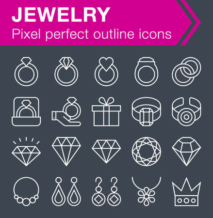 Set of thin line jewelry icons for mobile apps and web design.