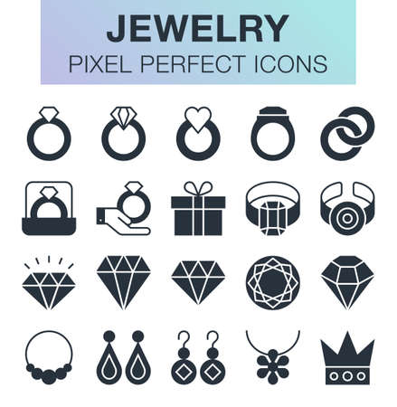 Set of pixel perfect jewelry icons for mobile apps and web design.