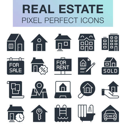 Set of pixel perfect real estate icons for mobile apps and web design.