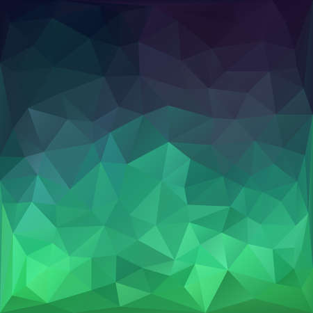 Emerald green and dark blue abstract polygonal background. Illustration