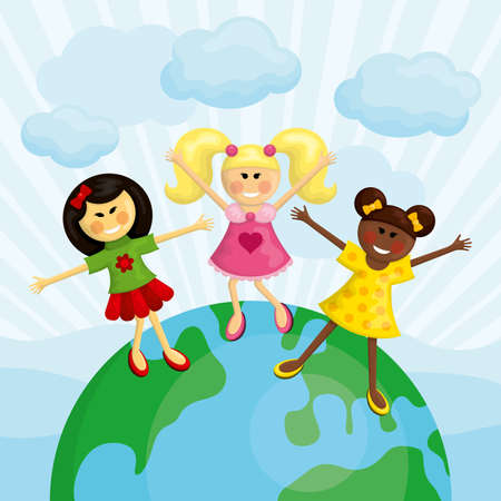 Happy multi ethnic girls standing on the earth. Vector illustration. Ilustrace