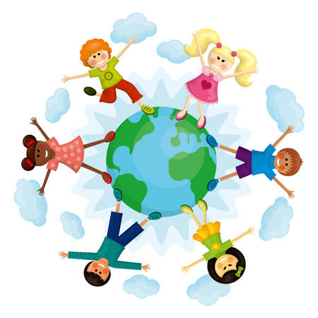 Happy multi ethnic kids standing around the earth. Vector illustration. Ilustrace