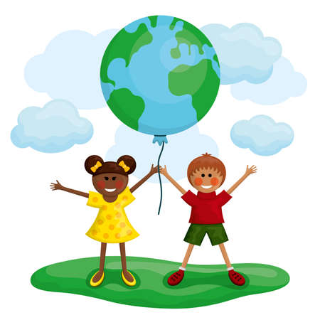 Happy kids holding the Earth balloon. Vector illustration.