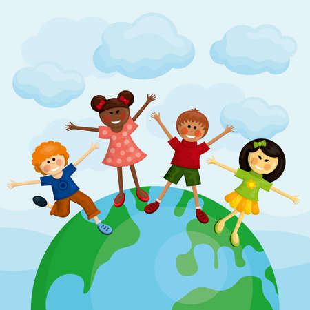 Happy multi ethnic kids standing on the earth. Vector illustration. Ilustrace