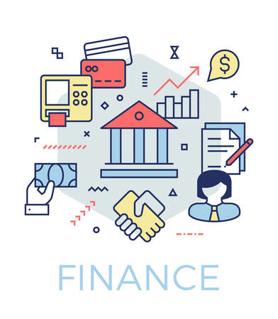 Creative finance and banking concept illustration. Thin line icons design banner for web, prints and mobile apps. Ilustrace