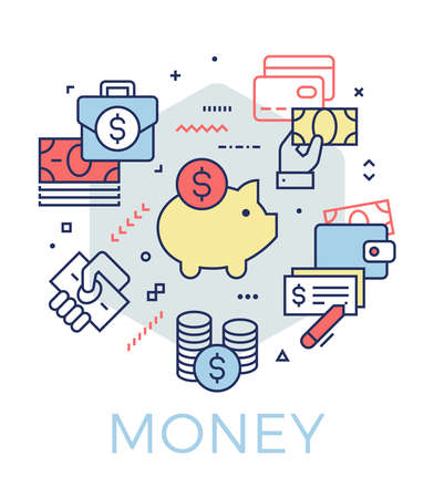 Creative money and banking concept illustration. Thin line icons design banner for web, prints and mobile apps.