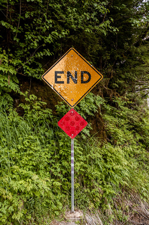 End of the road sign