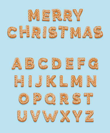 Christmas gingerbread cookies, alphabet letters. Merry Christmas and Happy New Year. Vector illustration template