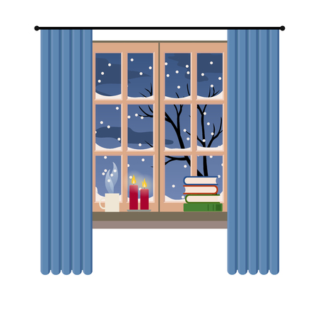 Christmas style window with winter and snow view, vector illustration