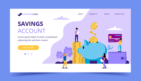 Saving Money Landing Page - Piggy Bank, Wallet, Credit Card. Concept vector illustration for banking, finance