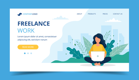 Freelance work page template. Woman working with laptop in the park. Illustration for freelancing, remote work, business. Vector illustration in flat style Vecteurs