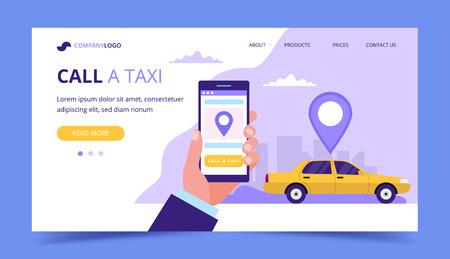 Appelez une page de destination de taxi. Illustration de concept avec voiture de taxi et main tenant un smartphone. Vecteurs