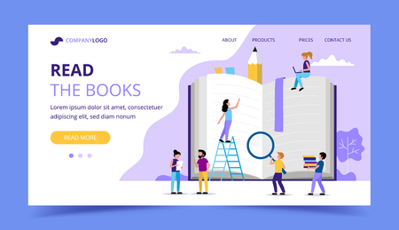 Reading landing page, small people characters around big book. Concept illustration for education, books, university, student, research. Vector illustration in flat style