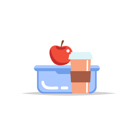 Lunchbox - meal container with coffee cup and an apple. School meal, childrens lunch. Vector illustration in flat style