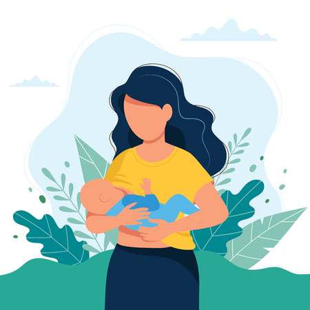 Breastfeeding illustration, mother feeding a baby with breast. Concept illustration in cartoon style.