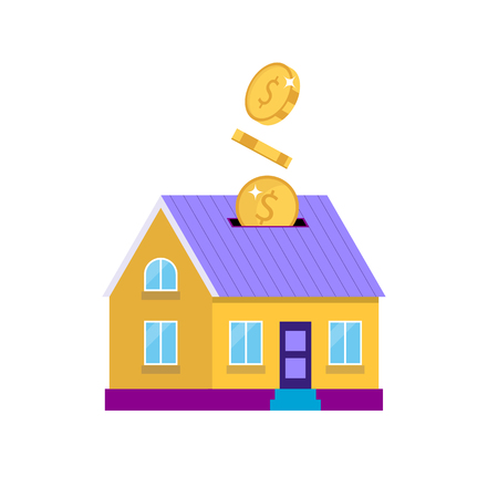 Investing in real estate - house with coins, isolated vector illustration in flat style, icon for investment, savings, bank, finance.