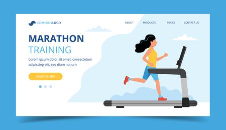 Esecuzione del modello di pagina di destinazione. Donna che corre sul tapis roulant. Illustrazione per maratona, corsa in città, allenamento, cardio.