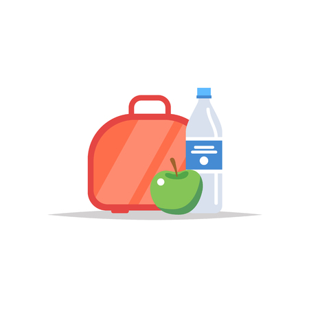 Lunchbox - meal container with water, and an apple. School meal, childrens lunch. Vector illustration in flat style Ilustracja