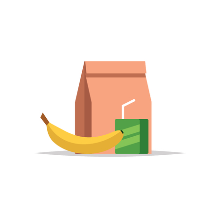 Lunchbox - paper bag with a meal, juice and a banana. School meal, childrens lunch. Vector illustration in flat style