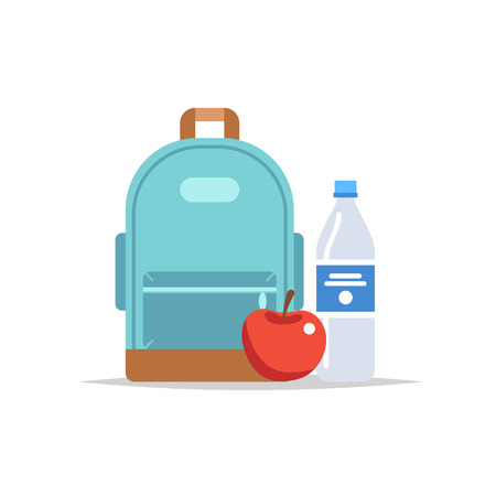 Lunchbox - backpack with a meal, water, and an apple. School meal, childrens lunch. Vector illustration in flat style