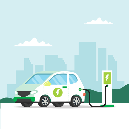 Electric car charging with city background. Concept illustration for environment, ecology, sustainability, clean air