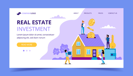 Real estate investment landing page - concept illustration for investing, buying house, coins falling in the house piggy-bank. Small people. Vector illustration in flat style Illustration