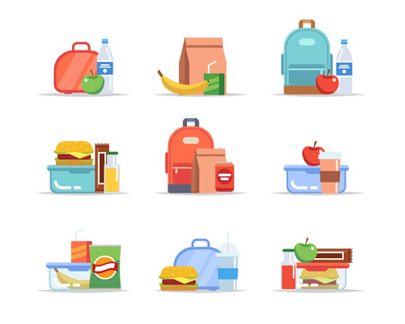 Lunchbox - different types of lunches, school meal and snack, childrens lunch trays with fruits, hamburgers, water, juice, soda, chocolate. Vector illustration in flat style