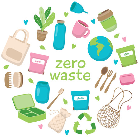 Ilustración del concepto de desperdicio cero con diferentes elementos y letras. Estilo de vida sostenible, concepto ecológico. Ilustración de vector