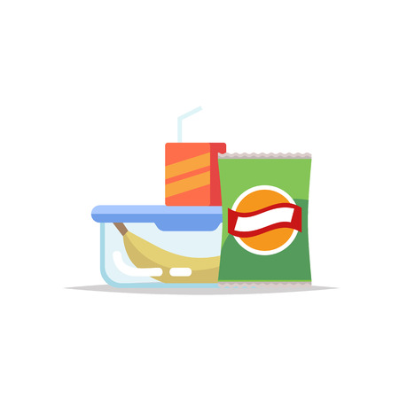 Lunchbox - meal container with banana, chips and a juice. School meal, childrens lunch. Vector illustration