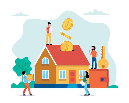 Investing money in real estate, buying house, small people doing various tasks. Illustration