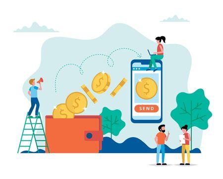 Transfering money, sending money from wallet to smartphone. Illustration