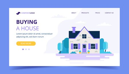 Buying a house landing page template. Cute family house with garden, real estate and investment concept. Vector illustration in flat style
