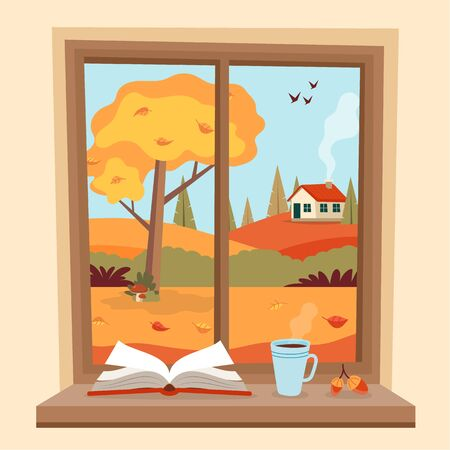 Autumn window with rural view, a book and a coffee cup on the sill. Cute cozy vector illustration in flat style Stock Illustratie