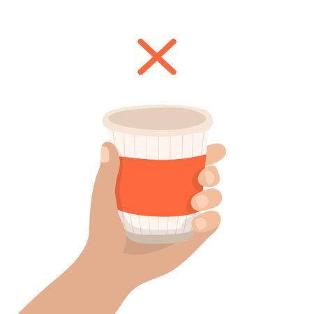 Disposable cup - zero waste concept illustration. Sustainable lifestyle, reduce plastic, ecological concept. Vector illustration in cartoon style
