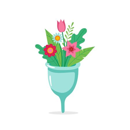 Menstrual cup with flowers. Eco sustainable lifestyle cute concept illustration. Vector illustration in cartoon style