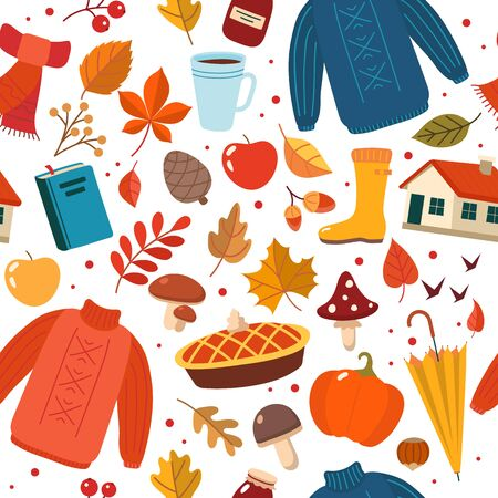 Autumn hand drawn seamless pattern with seasonal elements on white background. Cute vector illustration in flat style Ilustração