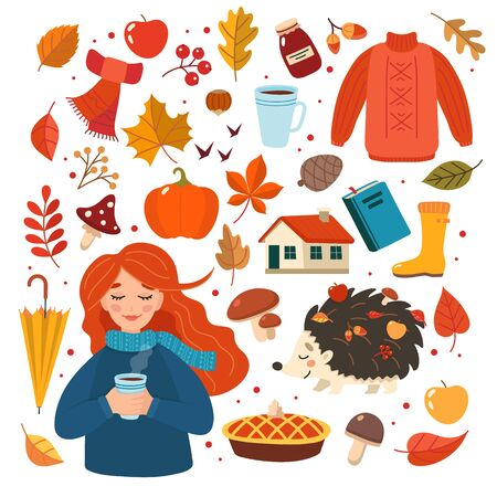 Autumn hand drawn elements collection with girl character. Cute vector illustration in flat style