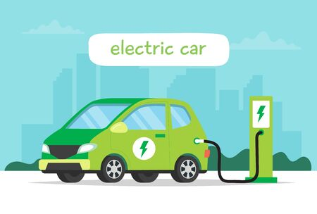 Electric car charging on city background and lettering. Concept illustration for environment, ecology, sustainability, clean air, future. Vector illustration in flat style.