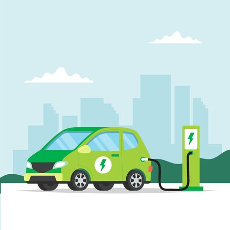 Electric car charging on city background. Concept illustration for environment, ecology, sustainability, clean air, future. Vector illustration in flat style.