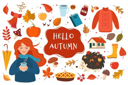 Autumn hand drawn elements collection with lettering on white background. Cute vector illustration in flat style