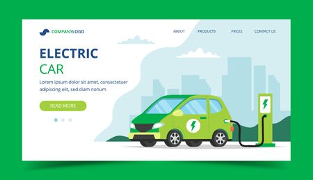 Electric car landing page - concept illustration for environment, ecology, sustainability, clean air, future. Vector illustration in flat style.