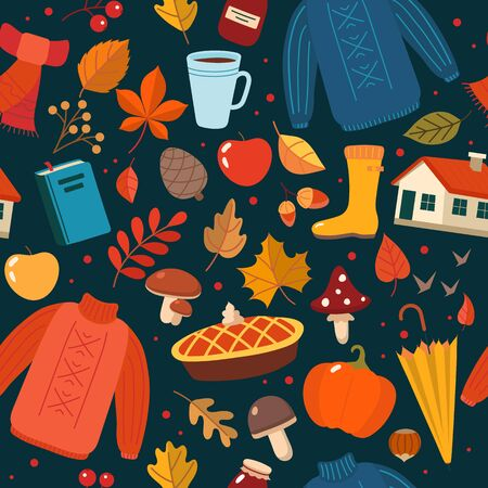 Autumn hand drawn seamless pattern with seasonal elements on dark background. Cute vector illustration in flat style