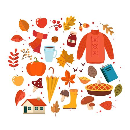 Autumn hand drawn elements collection. Cute vector illustration in flat style Ilustração
