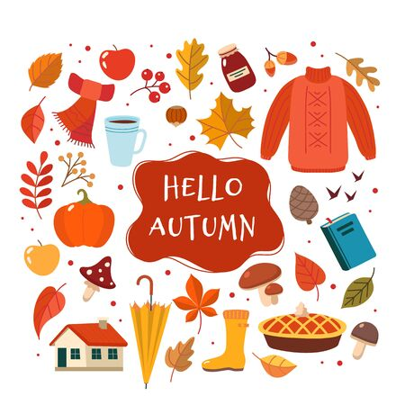 Autumn hand drawn elements collection with lettering. Cute vector illustration in flat style Ilustração
