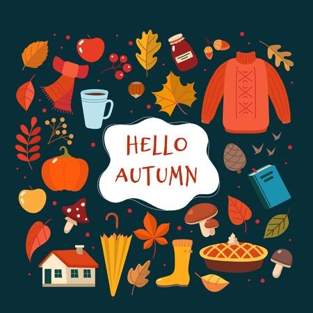 Autumn hand drawn elements collection with lettering on dark background. Cute vector illustration in flat style Ilustração