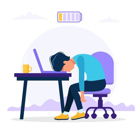 Burnout concept illustration with exhausted male office worker sitting at the table with low battery. Frustrated worker, mental health problems. Vector illustration in flat style Иллюстрация