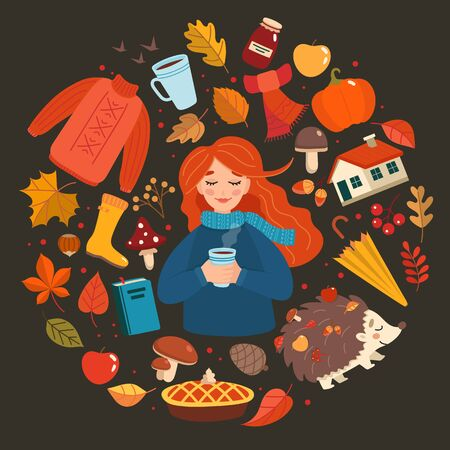 Autumn hand drawn elements collection, autumn girl with lettering on dark background. Cute vector illustration in cartoon style