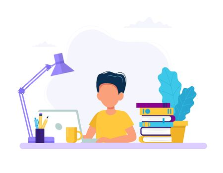 Niño estudiando con computadoras y libros. Regreso a la escuela, ilustración de vector de concepto de educación en línea en estilo plano