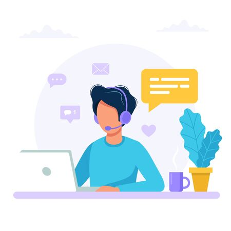 Contact us. Man with headphones and microphone with computer. Concept illustration for support, assistance, call center. Vector illustration in flat style