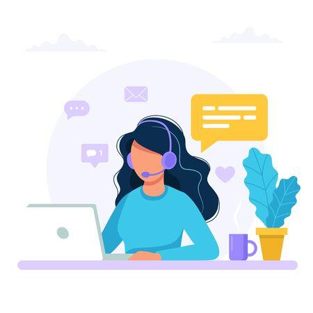 Contattaci. Donna con cuffie e microfono con computer. Illustrazione del concetto di supporto, assistenza, call center. Illustrazione vettoriale in stile piatto Vettoriali